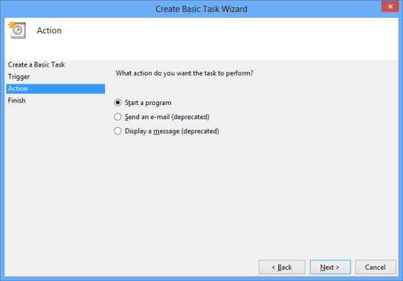 Configure Action for Basic Task