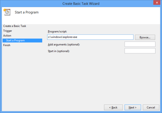 Configure Start Program for Basic Task