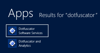 Dotfuscator Search Results in Windows 8