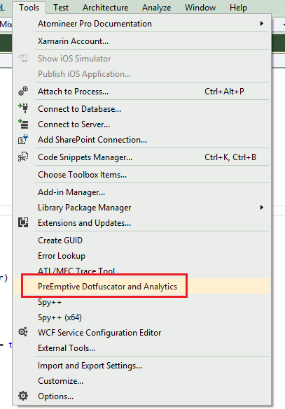 Dotfuscator Visual Studio 2012 Menu Option