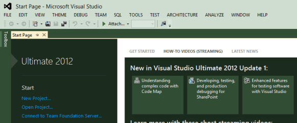 Visual Studio 2012 Start Page
