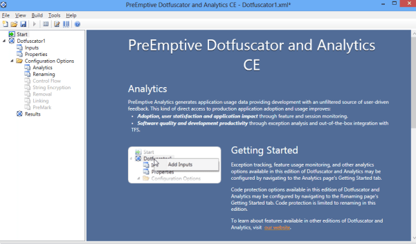 Dotfuscator Visual Studio 2012 Screen