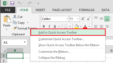 Office Excel 2013 Add to Quick Access Toolbar