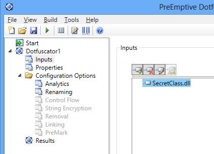 Dotfuscator Input added Visual Studio 2012
