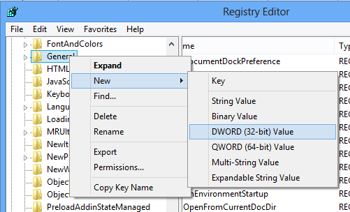 Windows 8 Registry Editor Add DWORD
