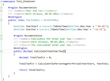 Visual Studio 2012 Code Block