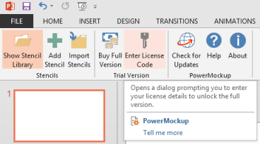 PowerMockup Menu Icons Enter License Key