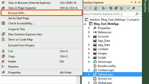 Visual Studio 2012 Browse With Option