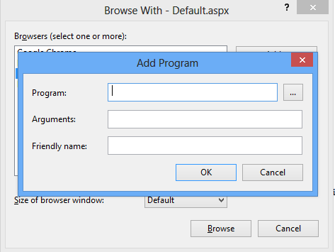Visual Studio 2012 ASP.NET Browse With Add Program