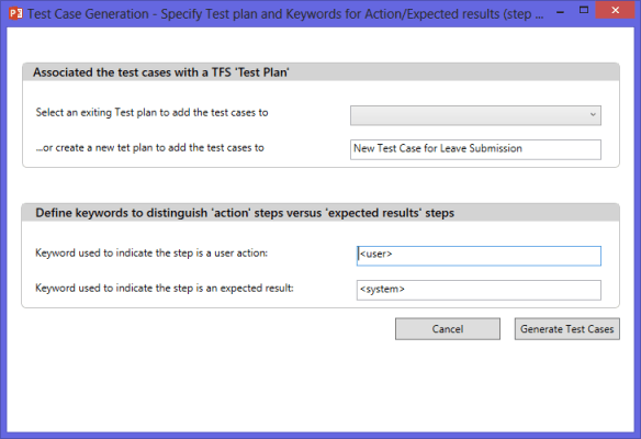 Specify Test Plan and  Keywords