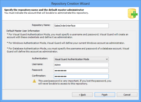 Repository Creation Wizard Repository Name