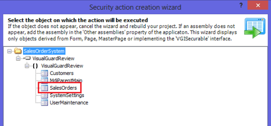 Security Action Creation Wizard