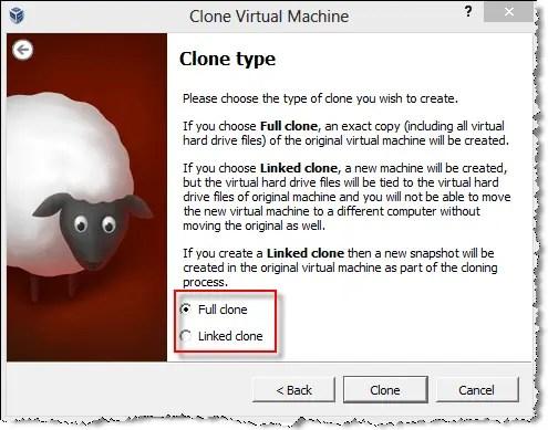 virtual machine clone type