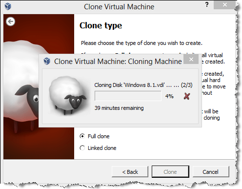 virtual machine clone progress