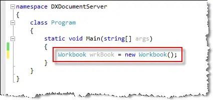 DevExpress Document Server Workbook Class
