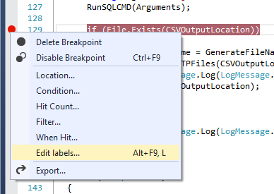 Visual Studio 2013 Breakpoint Labels Create