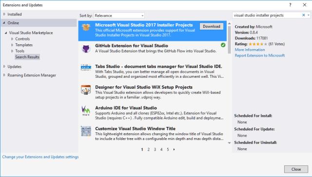 Visual Studio 2017 Installer Projects