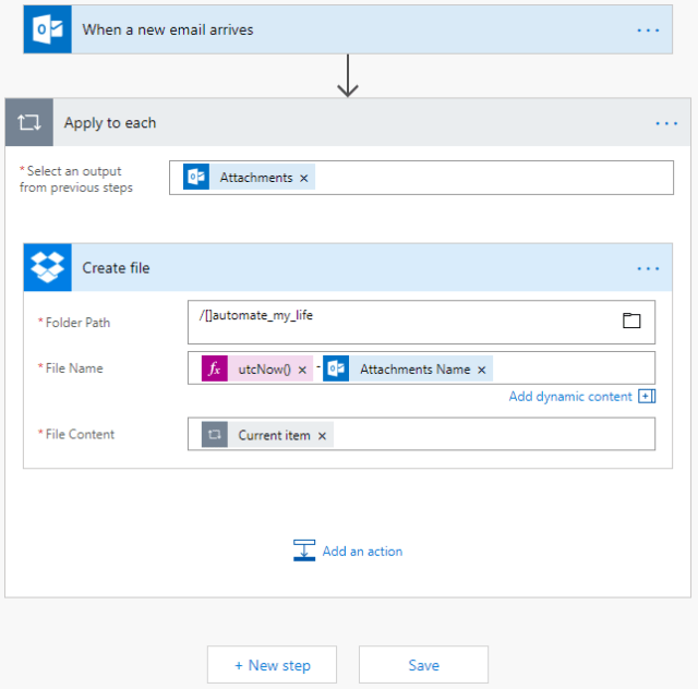 Microsoft Flow Modify Filename Saved