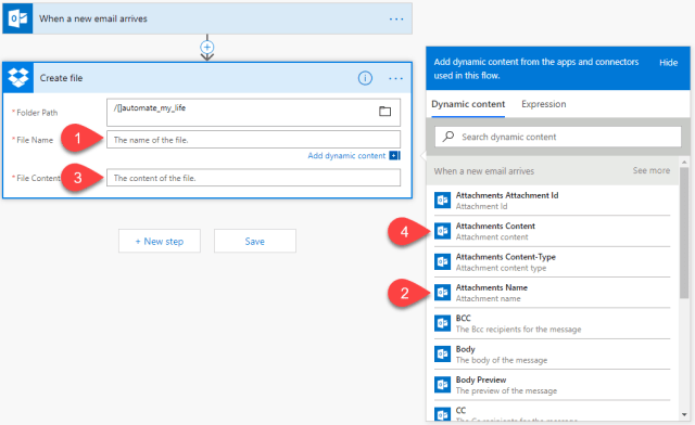 Email Automation Microsoft Flow dynamic dropbox content