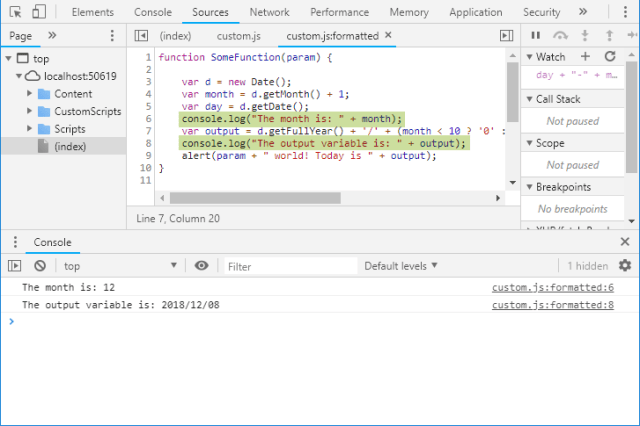 Using the Console Window in Chrome Dev Tools