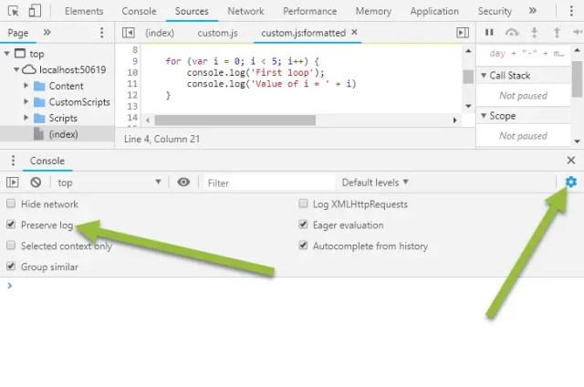 Chrome Dev Tools Preserve Console History