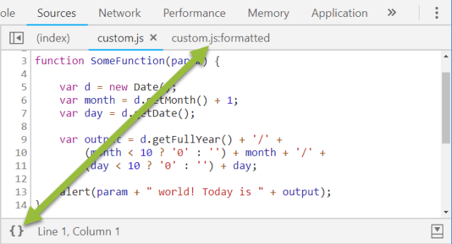 Chrome Dev Tools Make Code Look Pretty