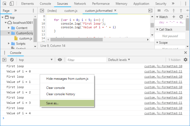 Save Console Output in Chrome Dev Tools