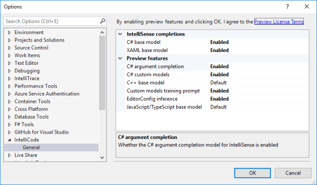 Visual Studio IntelliCode features are off by default
