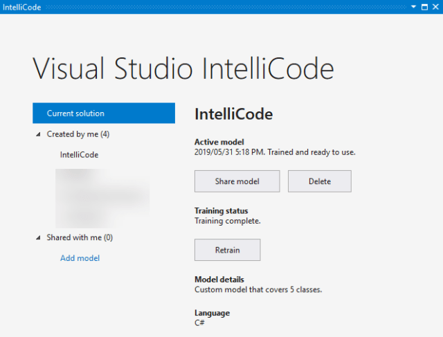 Visual Studio IntelliCode Model Management