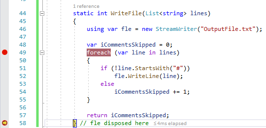 C# 8.0 breakpoint hit after using declaration