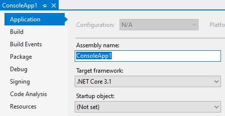 View the target framework for Visual Studio 2019 project