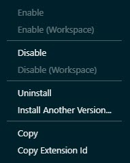 Enable or disable or uninstall a Visual Studio Code extension