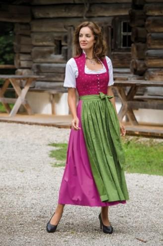 Trachten Outlet Original Salzburger - Dirndl lang in Fuchsia mit grüner Schürze