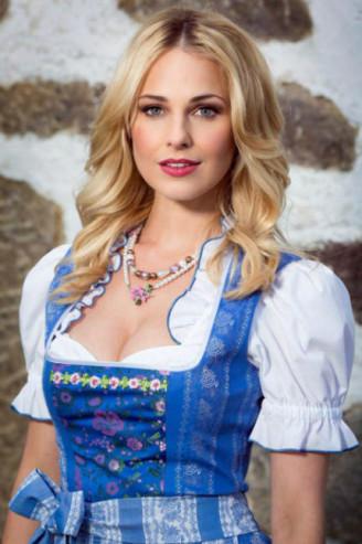Baumwolldirndl mittelblau, Silvia Schneider