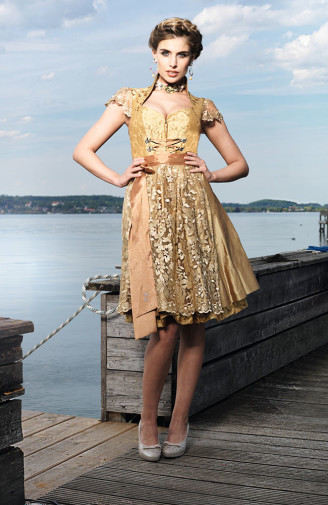 Goldenes Brautdirndl - Astrid Söll Stehkragen Dirndl