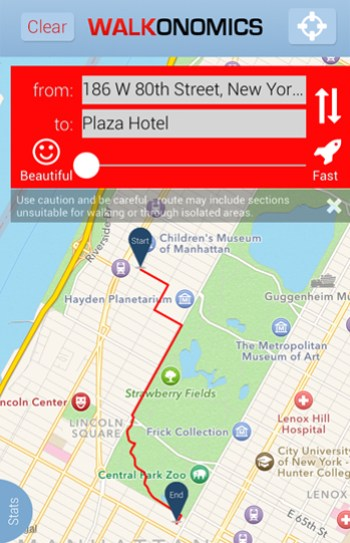 The most beautiful route from 186 W 80th Street to the Plaza Hotel as determined by the Walkonomics app  / Liz Camuti