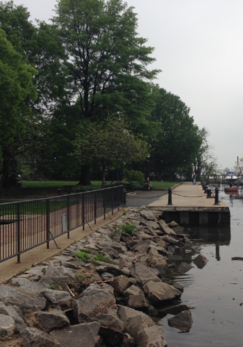 The existing view of the waterfront at the end of Prince Street / OLIN studios