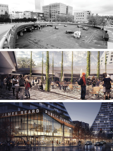James Beard Public Market: current condition at top, design renderings middle and bottom, Portland, Oregon / Snøhetta