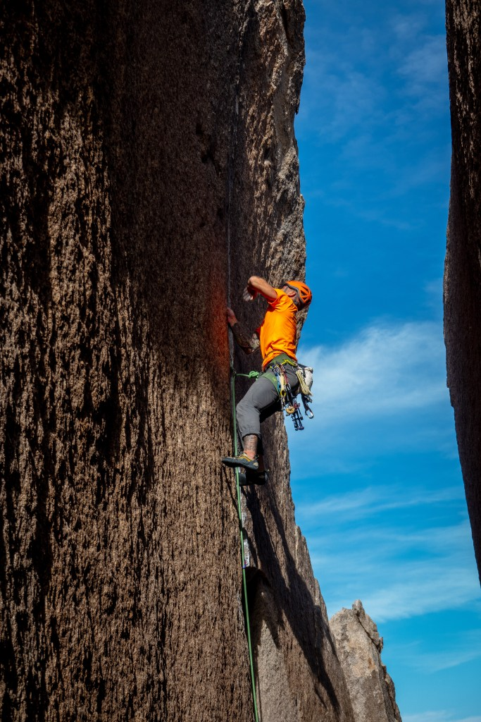 Justin Wallace on a redpoint attempt of Heart of Darkness (11a) in Joshua Tree