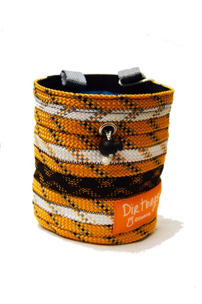 Black, white and gold Recycled rope climbing chalk bag, made ethically in the UK