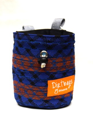 Dark blue chalk bag made using climbing rope