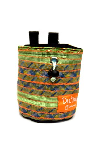 Green, orange and blue chalk bag made using recycled climbing rope with light blue fleece lining