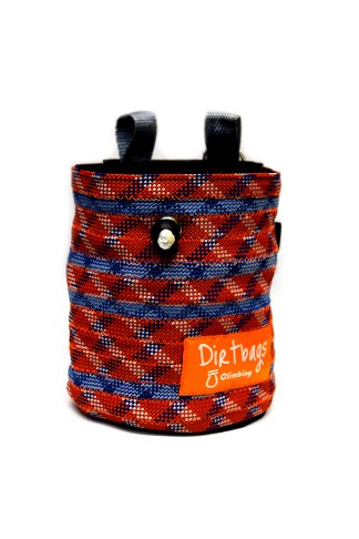 Orange and blue chalk bag made using climbing rope