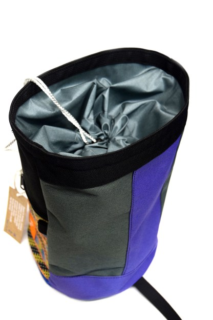 Back view of blue and purple boulder bag