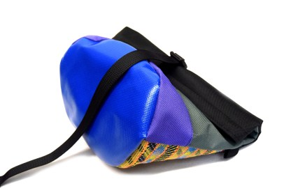 Rolled boulder bag, blue, clipped with a black plastic buckle
