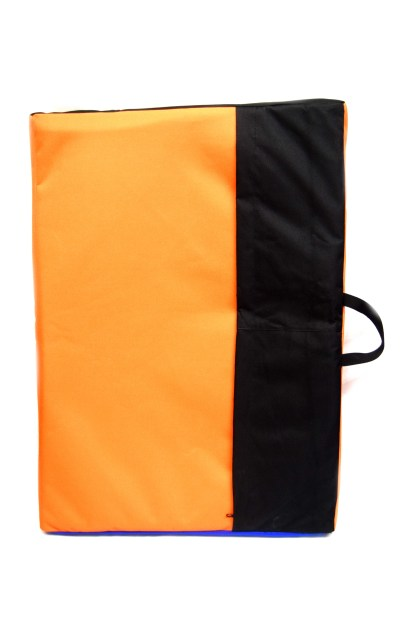 Back view of sit start boulder pad, orange and black with a zip in the centre. Black webbing carry handle