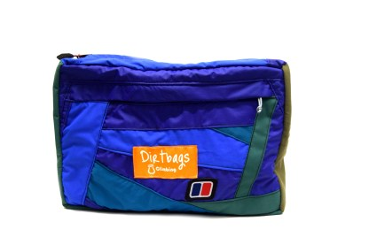 Front view of blue and green waterproof zip wash bag
