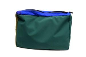 Back view of green waterproof wash bag