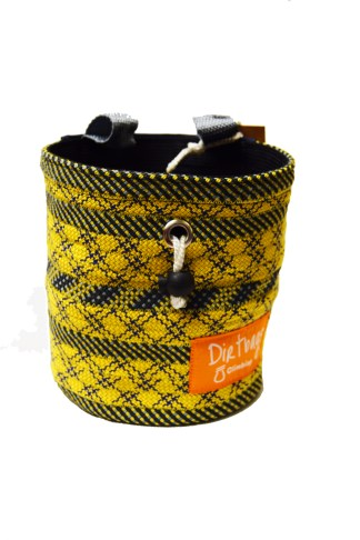 yellow Recycled rope climbing chalk bag, made ethically in the UK