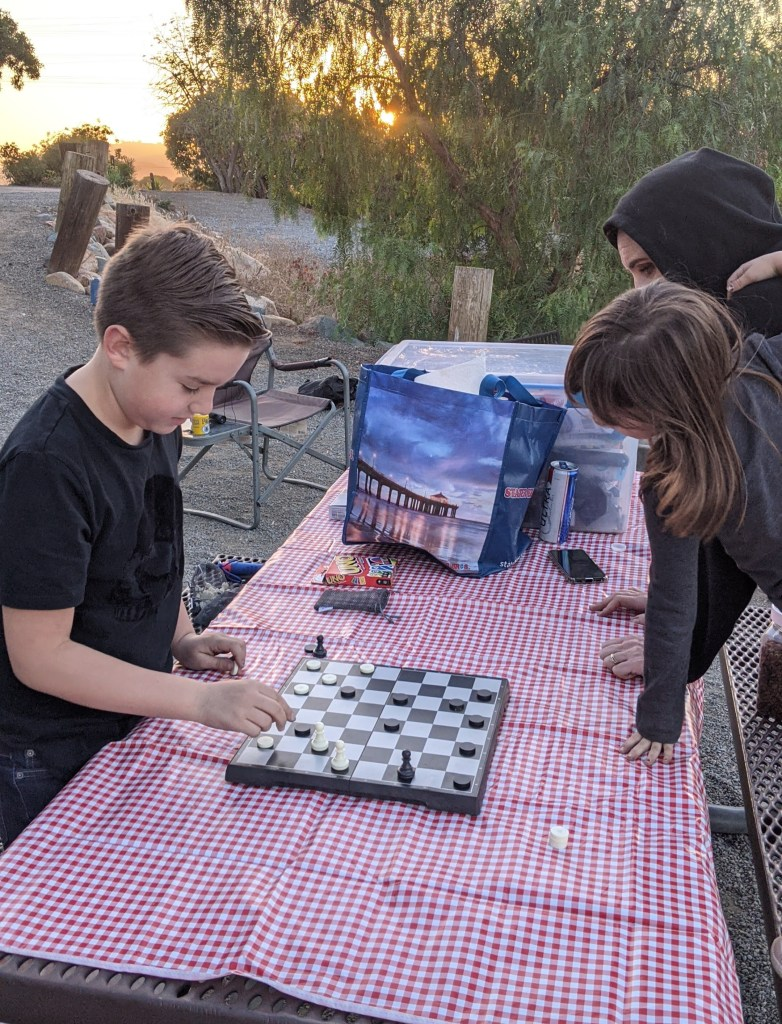 board games at campsite